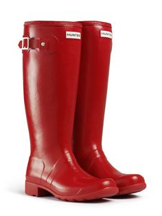 A Hunter rain boot that rolls up for traveling! It has a light, flexible sole so it can be quickly rolled away, but will maintain its shape when worn. $135