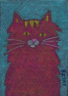 ACEO colored pencil drawing of a red Maine Coon Cat cat by bztat $15