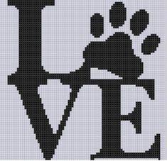 Punto De Cruz Love Paw Cross Stitch Pattern - Love Paw Cross Stitch Pattern Size on 14 count roughly X Includes Cross Stitch Tips Cross Stitch Heart, Cross Stitch Animals, Counted Cross Stitch Patterns, Cross Stitch Designs, Cross Stitch Embroidery, Embroidery Patterns, Hand Embroidery, Tapestry Crochet, Knitting Charts