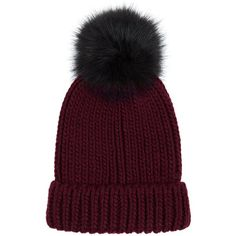 Burgundy Faux Fur Pom Pom Hat ($63) ❤ liked on Polyvore featuring accessories, hats, red beanie, beanie cap, burgundy hat, red hat and beanie cap hat