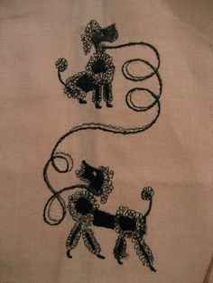 Vintage Pink Linen Embroidered Black Poodle Dog Hand Towels