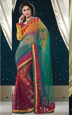 GREEN, YELLOW & PURPLE NET LATEST SAREE - SHRI 5118