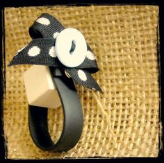 pvc ring with vintage ribbon,button & wood