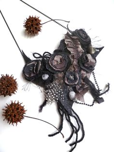 Evening Beauty V, wearable fiber art black necklace as seen In Autumn 2011 Belle Armoire Jewelry Magazine. $65.00, via Etsy.