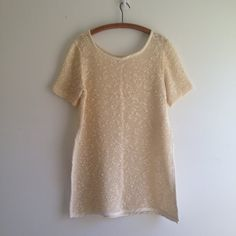 vintage 80s cream open knit TUNIC sweater top m l by vintspiration, $32.00