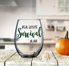 Funny Real Estate Gift Real Estate Survival Glass Funny