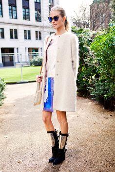 Poppy in Michael Van Der Ham skirt, Chanel boots, Christopher Kane top, Philosophy jacket, Miu Miu glasses