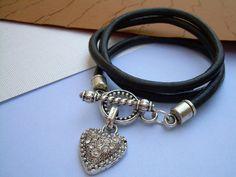 Womens Black Triple Wrap Leather Bracelet by UrbanSurvivalGearUSA, $23.99