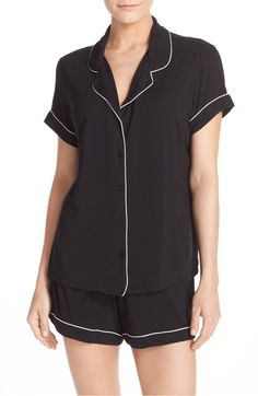 90efda5d38 Contrast piping outlines a shorty pajama set with styling borrowed from the  boys and updated in a temptingly soft and lightweight knit.