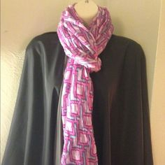 Scarf Ann Taylor scarf in pink design. Measures 87 inches. NWT Ann Taylor Accessories Scarves & Wraps