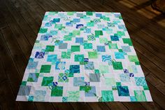 Disappearing Nine Patch by Quiltsalad, via Flickr ~ I like this 9 patch with lots of white.