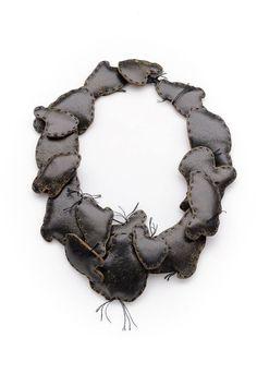 Anastasia Kandaraki « podikomura » necklace, vintage leather, silk thread, cotton