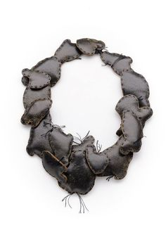 Anastasia Kandaraki « podikomura » necklace, vintage leather, silk thread, cotton