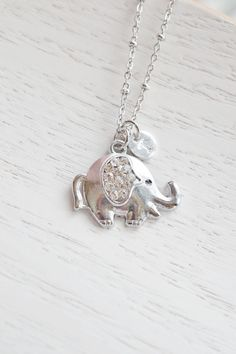 Lucky Elephant Necklace,Puffy Elephant Jewelry,Personalized Cute Elephant Necklace,Initial Elephant,Good Luck Necklace,Dainty Petite Elephant Animal Necklace,Bridesmaid Gift