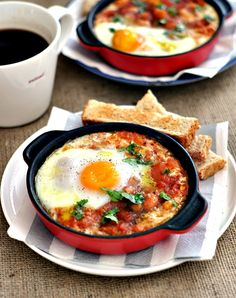 baked egg with spicy beans