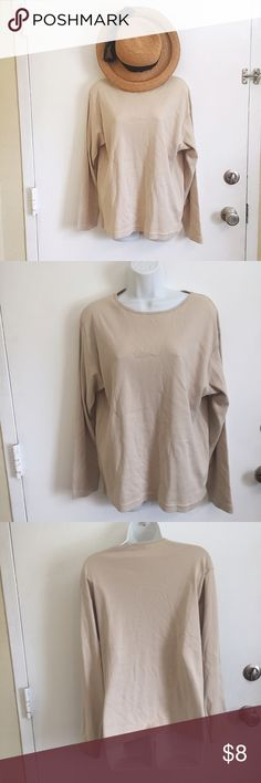 NWT Basic Long Sleeve Tee New with tags. Basic beige long sleeve tee. Size petite large. #new #nwt #basic #beige #tan #neutral #petite #large #longsleeve #tee #punkydoodle  No modeling Smoke and pet free home I do discount bundles bay Studio Tops Tees - Long Sleeve