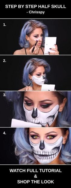 # HALLOWEEN MAKE UP this step by step half skull halloween makeup tutorial by Chrisspy amp; shop the products!: this step by step half skull halloween makeup tutorial by Chrisspy amp; shop the products! Halloween Inspo, Halloween Makeup Looks, Halloween 2018, Easy Halloween, Halloween Skull Makeup, Halloween Makeup Tutorials, Halloween Tutorial, Halloween Cosplay, Halloween Costumes