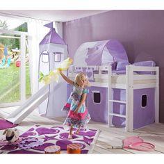 Kinder-Spielbett in lila-weißen Textilien Rutsche | Kinderzimmer > Kinderbetten > Hochbetten | Lila | Massivholz | Nature Dream