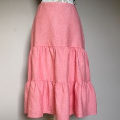 "🐿SALE!🐿 LANDS' END Linen Tiered Skirt - NEW Sz 6 Brand new tiered skirt. 100% linen. Lands' End. Light red/pinkish/peach-ish color. 2 tiers of ruffles. Zippered side closure. New, never worn. NWOT Length: 27"". Waist across laying flat: 14"". Machine washable. Ladies size 6. 🌸 BUNDLE & SAVE 🌸 JOIN MY FOLLOW GAME! LIKE FOLLOW SHARE! 🐾🐾🌻 CLOSET CLEAR-OUT TIME! ACCEPTING OFFERS! 💥 Lands' End Skirts"
