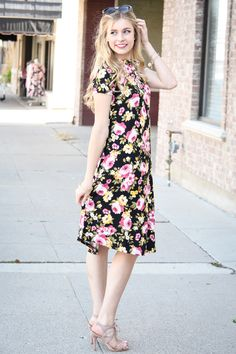 French Jardin Black Floral High Neck Trapeze Dress - My Sisters Closet