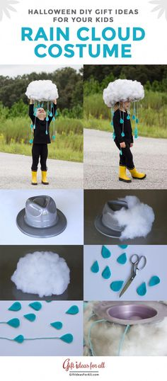 Rain Cloud Costume for Halloween. for kids 21 of the Funniest and Easiest Halloween DIY Gift Ideas for Your Kids Rain Cloud Costume for Halloween. for kids 21 of the Funniest and Easiest Halloween DIY Gift Ideas for Your Kids Halloween Mono, Diy Halloween Costumes For Kids, Holidays Halloween, Halloween Crafts, Halloween Party, Pirate Costumes, Women Halloween, Halloween Decorations, Halloween Recipe