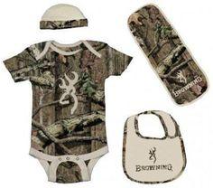 Browning Baby Boys Tan & Camo Buckmark Outfit Set #0001080 Onsie Bib Beanie Burp