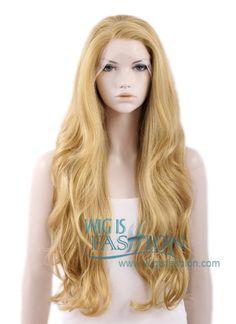 "26"" Long Blonde Wavy Lace Front Wig Heat Resistant"