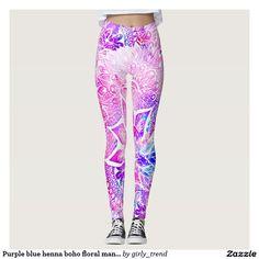 Purple blue henna boho floral mandala pattern leggings