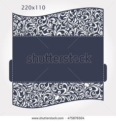 Wedding Invitation Baroque. Template for laser cutting. Open card. It can be used as an envelope. Folded size 220x110 mm.