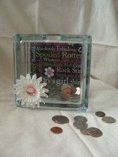 Its a Girl Thing Glass Bank by BZBeeCreations on Etsy, $20.00