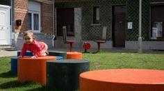 Panache Straatmeubilair Mobilier Urbain Merk Durbanis Tap zitzuilen cilinder zitcilinder Urban Design, Sports, Street Furniture, Benches, Seating Areas, Games, Hs Sports, Sport
