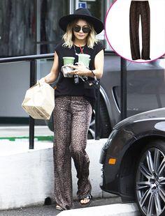 "Vanessa Hudgens showed off her wild side in Michael Lauren's ""Derby Wide Leg Pants"" in mini leopard while grabbing some grub in Studio City!"