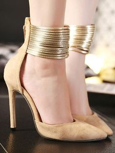 Beige Pointed Metallic Strap Zip Detail High Heeled Pumps