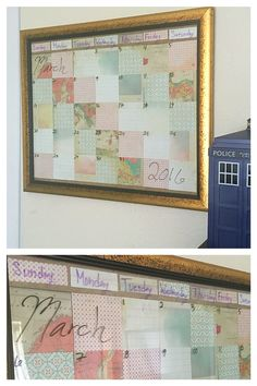 DIY Dry Erase Calendar   Supplies:  Pieces of Scrapbook paper, Scissors, Double-sided Tape, Picture Frame (with Glass & Cardboard background), Dry Erase Markers (Ultra Fine Tip Expo Markers work best) and a Ruler.   Directions:   1.) Once you find the perfect picture frame (with Glass & Cardboard background), use your ruler to measure out how large each square of Scrapbook paper should be on the Cardboard. ***Don't forget to account for the part of the frame that will cover the Cardboard's…