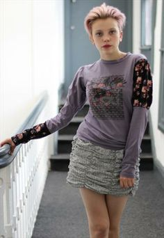 £7.50-Long Sleeved Punk Grunge Puffy sleeve floral hipster Top
