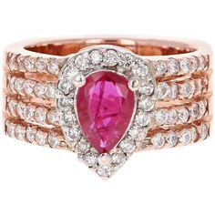 carat ruby diamond 14 karat rose gold ring for sale