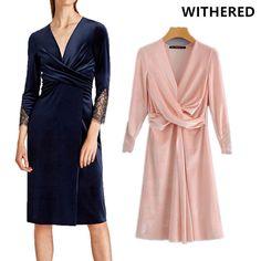 Withered 2017 winter dress vestidos women sleeve Lace stitch fashion solid color Cross type velvet vestido dress women plus size