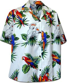 Pacific Legend Parrots Hawaiian Shirt, White cotton poplin fabric Matched pocket Coconut buttons Made in Hawaii Vintage Hawaiian Shirts, Mens Hawaiian Shirts, Kai, Bowling Shirts, Aloha Shirt, Movie T Shirts, Shirt Shop, Mens Tees, Cool Shirts