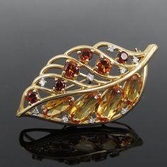 Vintage 0.15ct Diamond & 8.50ct Citrine 14K Yellow Gold Leaf Pin Brooch