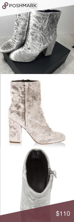 """Rebecca Minkoff Sand Floral BRYCE Embossed Bootie NEW WITH BOX!  Velvet Embossed Rebecca Minkoff Booties With embossed floral  Heel height 3.5"""" Side zip closure and leather lining and sole Rebecca Minkoff Shoes Ankle Boots & Booties"""
