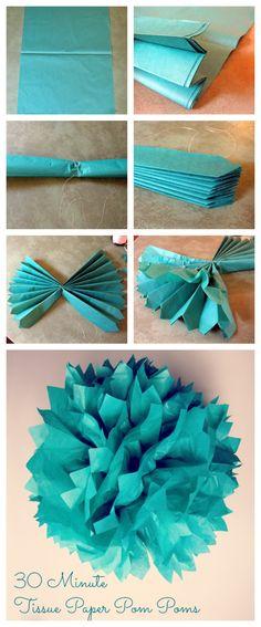 30 minute tissue paper pom pom tutorial