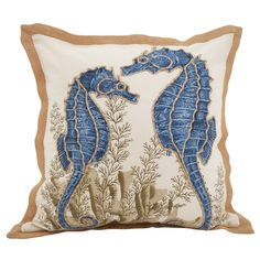 Seahorse Filled Cotton Down Filled Throw Pillow - Saro Lifestyle Create a breezy, tranquil space with a seahorse-printed statement pillow. Features classic square shape, crisp cotton and contrasting trim. Approximate Dimensions: x x Blue Throw Pillows, Accent Pillows, Beautiful Symbols, Fan Coral, Coral Design, Cricut, Cushion Pads, Textiles, Decorative Accessories