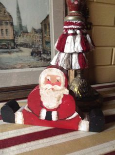 Country Christmas Hand Painted Santa Clause on the shelf  handmade.  on Etsy, $15.00