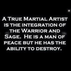 Exactly Martial Arts is about having the knowledge of combat, but should never have to be used under any circumstance. Always walk away from the fight but at the same time always protect yourself and the weak.