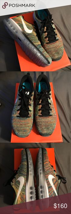Multicolor Nike Flyknit Max size 10.5 Worn maybe 5x. In great condition. No box    Nike Jordan Kobe lebron kyrie KD Kanye yeezy adidas boost ultraboost nmd air max flyknit supreme vlone comme des garcon raf simons goyard Gucci bape palace fear of god kith undefeated undftd bait hypebeast streetwear Nike Shoes Sneakers