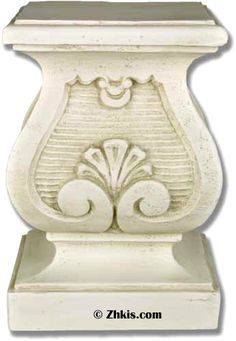 Short riser pedestal with scroll design. A decorative piece with a finished edge along the top platform. This stand is perfect for holding a statue that needs a finished look to it. Available in different colors.