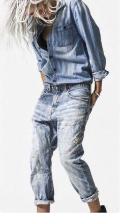 a4883ce66078 Jean Délavé, Jeans Denim, Jeans Bleus, Denim Noir, Nuances De Bleu, Mode  Jeans, Chemises Blanches, Bleu Vert, Femmes