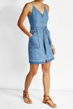 Denim Dress in Cotton and Linen Romper Outfit, Denim Outfit, Dress Outfits, Denim Fashion, Boho Fashion, Autumn Fashion, Fashion Outfits, Casual Summer Dresses, Nice Dresses