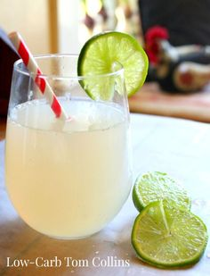 low-carb Tom Collins cocktail is tangy and refreshing with just .6 carbs per serving - lowcarb-ology.com