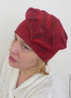 "Валяная женская шапка "" Гранатовый соблазн"" - ярко-красный,валяная шапка"